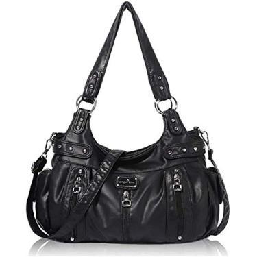Bolsas de ombro femininas de couro lavado, bolsa multibolso (5737 branco cinza), A-ak19244 8901#7black