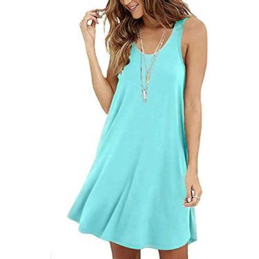 Hajotrawa camisa feminina, casual, caimento solto, vestidos flare de verão, simples, sem mangas, 01-nile Blue, S
