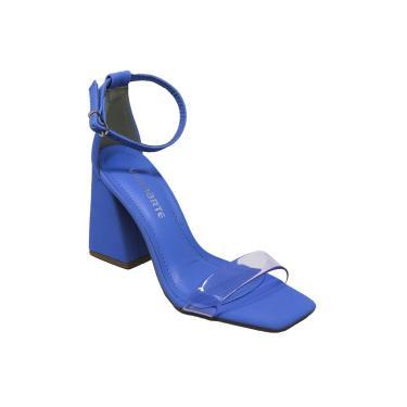 Imagem de Sandalia Salto Quadrado Com Vinil Via Marte Artico - Azul  feminino