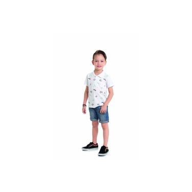 Camiseta Infantil Menino Primeiros Passos Viagem Férias Branca Verão Casual Gola Polo Manga Curta Travel - Alenice