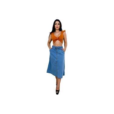 Saia Midi Jeans com botões Frontal - EWF Jeans – Azul claro