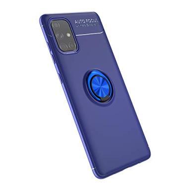 Cellular Capa para Samsung Galaxy A71(5G)/A Quantum Capa Case Anel Suporte Magnético Protetor de Suporte TPU + ABS Silicone Capa Anti-queda Atualização função de suporte Caso Cell Case:Azul