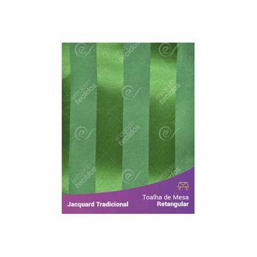 Imagem de Toalha De Mesa Retangular Em Tecido Jacquard Verde Listrado Tradicional
