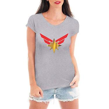 Camiseta Criativa Urbana Capitã Marvel Vingadores T Shirt - Feminina