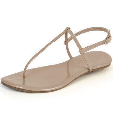 Rasteira Mercedita Shoes Verniz Areia  feminino