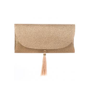 Bolsa A Clutch Mini Glitter Party Champagne  feminino