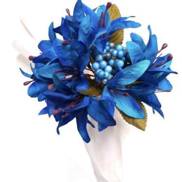 Imagem de Porta Guardanapo Lírios da Maison Charlô (Azul Royal) - 4 unidades