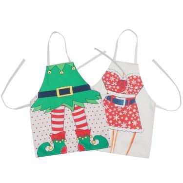 Hemoton 2 Peças Avental de Natal Avental de Natal Avental de Papai Noel Avental de Natal Trajes para Cozinhar Assar Jardinagem Feriado Natal Fontes de Festas Favores