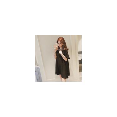 Usar Lady alm malha Patchwork Vero Vestido manga curta vestido Mulheres O-Neck Vestido dirio