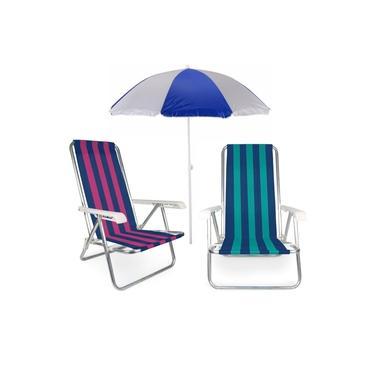 Kit Praia 2 Cadeira Reclinável 4 Posições Alumínio + Guarda Sol 1,80 m - Mor