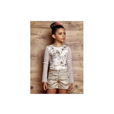 Conjunto Infantil Menina Blusa com Short Dourado Diforini 121117