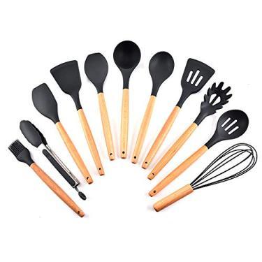 Imagem de Aibecy Conjunto de utensílios de cozinha de silicone 11 unidades com cabo de madeira de faia resistente ao calor e antiaderente colher espátula utensílios de cozinha