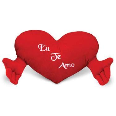 Imagem de Coração de Pelúcia com Mãozinha Eu te amo Vermelho 67 cm Antialérgico