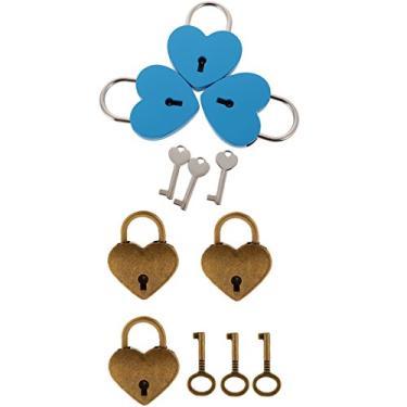 Imagem de Bonarty Conjunto de 6 malas de viagem Love Heart Lock Pequena Cadeado Bronze Azul