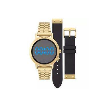 78ce7d7a23cdc Relógio Feminino Euro Aço Dourado Troca Pulseira Silicone Preto  Eubj3407aa T4p