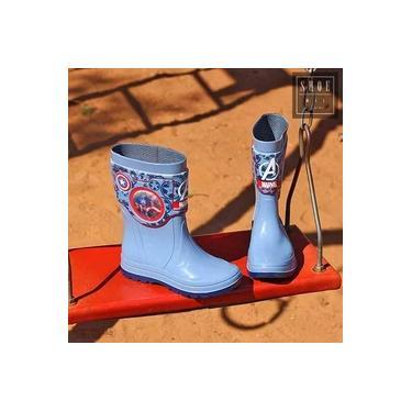 Bota Marvel Galocha Grendene Azul/Azul Infantil 21767-Holografico Tech
