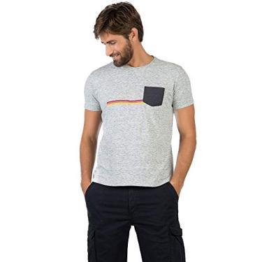 T-Shirt Com Bolso Cinza CINZA GG af6a6ba1dce8a