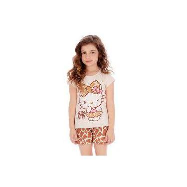 Pijama Curto Infantil Em Malha Hello Kitty Bege E Marrom C/brilho