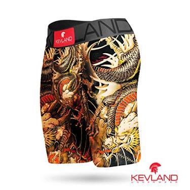 Cueca Boxer Long Leg Kevland Dragon Tattoo Tamanho:M;Cor:Amarelo
