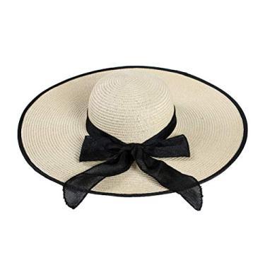 PRETYZOOM Chapéu de sol de laço Outing aba larga chapéu de praia de verão adorável (bege) chapéu de sol de verão
