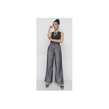 Calça Pantalona em tecido viscose acetinado , MAXMA2671