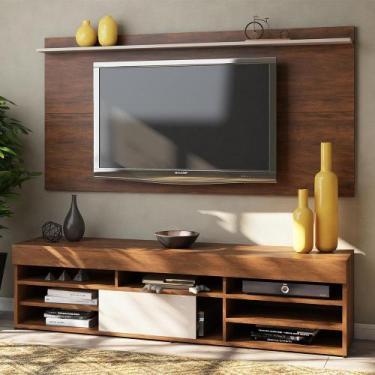 Rack com Painel para TV Até 55 Polegadas 1 Porta Jhon Seda/Off White -