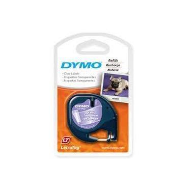 Fita Rotulador Letratag Preto/transp Poliester 12mmx4mt Ref 16952 Dymo