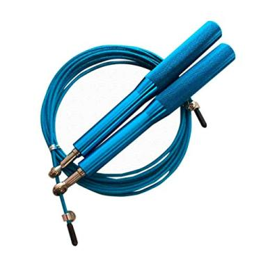 Corda Pular Aço Crossfit 3m Rolamento Speed Profissional Azul