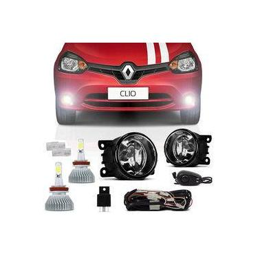 Kit Farol de Milha Renault Clio 2013 a 2016 Auxiliar Neblina + Kit Super Led Headlight H11 6000K