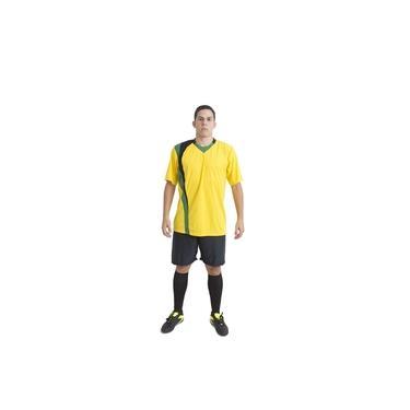 Uniforme Esportivo Completo modelo PSG 14+1 (14 camisas Amarelo/Preto/Verde + 14 calções Madrid Preto + 14 pares de meiões Preto + 1 conjunto de goleiro) +