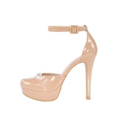 Sandália meia pata Week shoes bico redondo verniz nude  feminino
