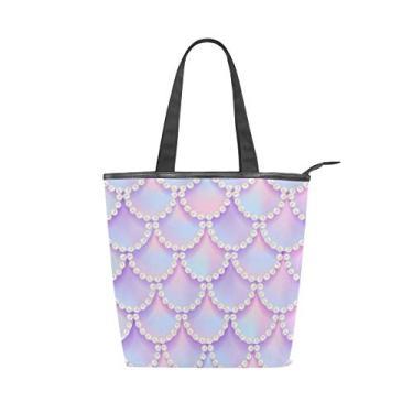Bolsa de lona com alça superior estilo sereia violeta escamas bolsa de ombro para mulheres