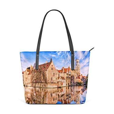 Bolsa de compras grande para trabalho feminina de couro sintético fashion em conto de fadas medievais Bruges bolsa casual