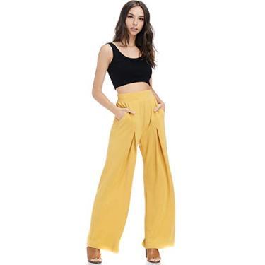 Calça plissada invertida Tov, Amarelo, X-Large