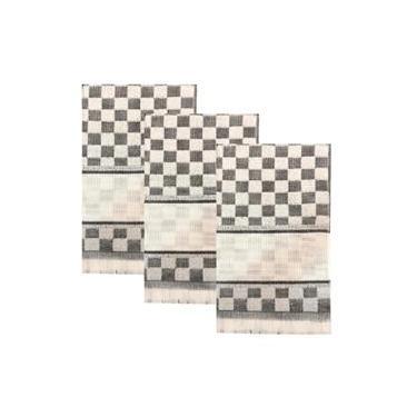 Imagem de Kit 3 Panos de Copa Felpudos Para Bordar Etamine Quadriculados Cinza Dohler