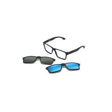 39037cb0f Armação Oculos Grau Mormaii Swap M6057ace56 Preto Fosco Clip On Polarizado