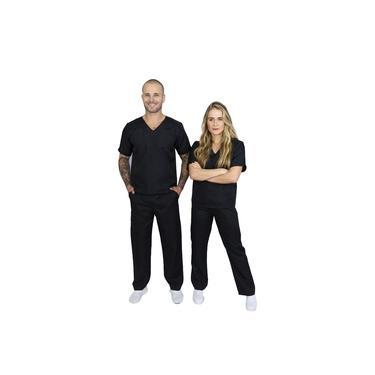 Pijama Cirúrgico Conjunto Hospitalar-unissex-scrub-(Preto)