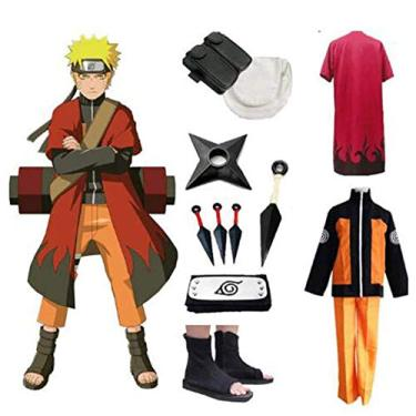 Imagem de Fantasia Zuunky Compatível com Conjunto Completo Naruto Uzumaki Fantasia Cosplay Festa (M)