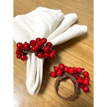Imagem de Porta guardanapo natal meia guirlanda frutinhos vermelhos