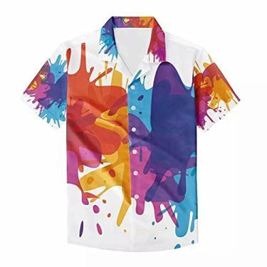 Imagem de Camisa havaiana Funky Galaxy Graffiti masculina Aloha Beach Party Holiday casual, Branco, azul, laranja, grafite, P