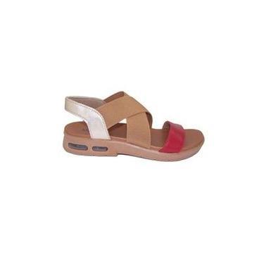 Sandália Usaflex – Feminino – Couro – Vermelho/Ouro - Ref.: 4301