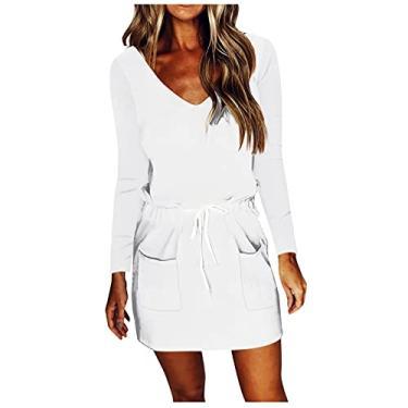 Imagem de SLENDIPLUS Vestido feminino casual com gola V, manga comprida, solto, liso, degradê, penas, cordão com bolsos, #003: branco, XXG