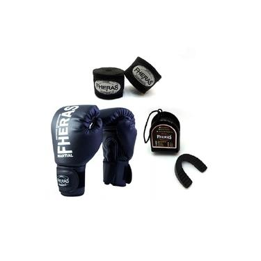 Kit Boxe Muay Thai Fheras New Trade Luva + Bandagem Trade Preto 005