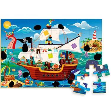 Imagem de Quebra-cabeca Madeira Navio Pirata Magico 48 Pecas Brincadeira De Criança Multicor