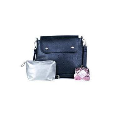 4aeab3c7e Bolsa transversal feminina pop azul marinho + necessaire e porta-moedas  feminina