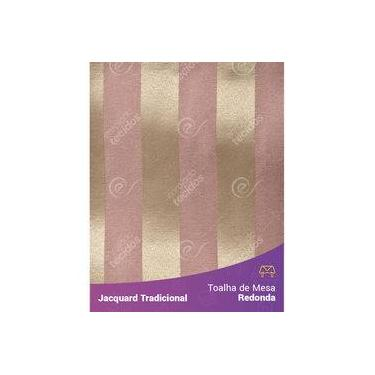 Imagem de Toalha De Mesa Redonda Em Tecido Jacquard Rosa Envelhecido E Dourado Listrado Tradicional