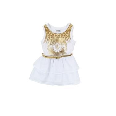 Vestido Infantil Menina Verão Charmoso Reveillon Branco Cinto Dourado Ana Luisa - Boca Grande