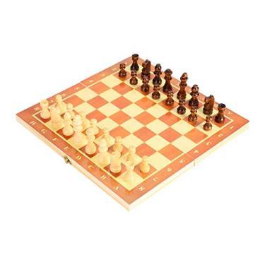 Xadrez dobrável de madeira, xadrez de madeira portátil, jogo de xadrez dobrado para atividades familiares em festas