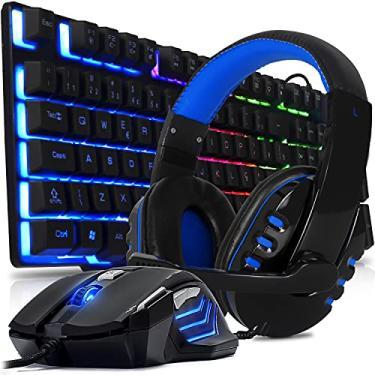 Kit Gamer Teclado Gamer Semi Mecanico usb Headset fone gamer Para Jogos com Microfone e Mouse Usb Para Pc Ps4 Ps5