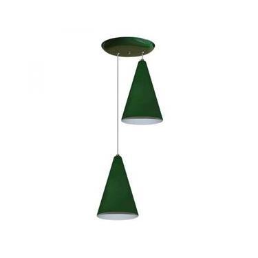 Luminaria Pendente Colorido Duplo para Sala Quarto Cozinha Verde